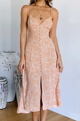 Emmelisa Maxi Dress Peach Print