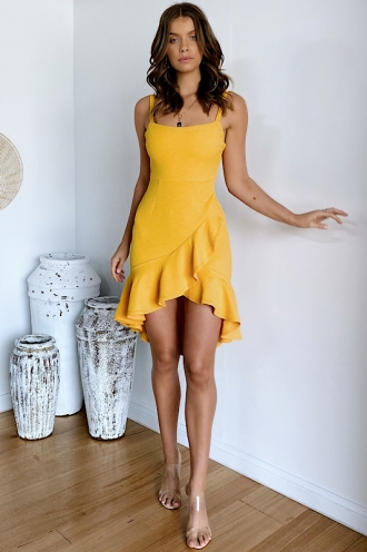 City Lights Dress - Mustard