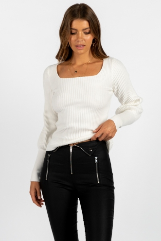Jeanie Ribbed Top - White