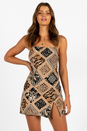 Empty Glasses Dress Beige Safari Print