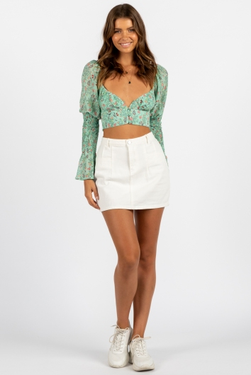 Natures Blossom Top Sage Print