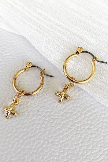 Mini Cross Charm Hoops Gold