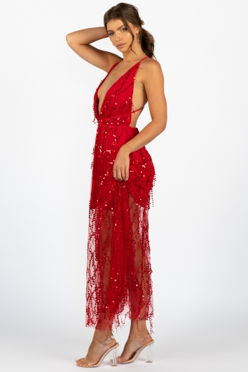 Move It and Shake It Dress Red Sequin