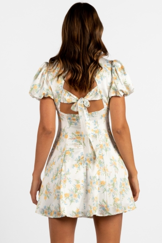 Milan Dress White/Yellow Floral