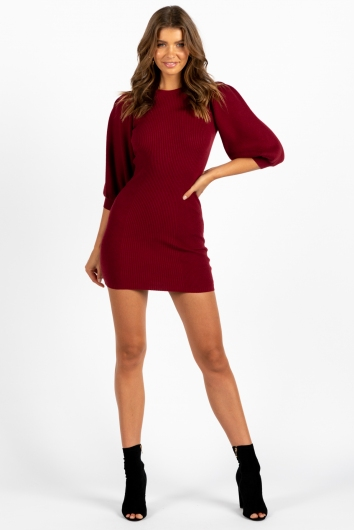 Mary Dress Maroon