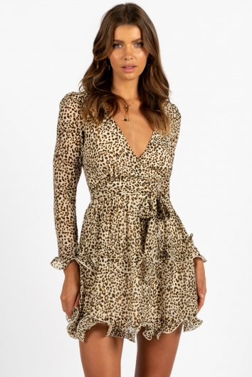 Pipa Dress Beige Leopard Print