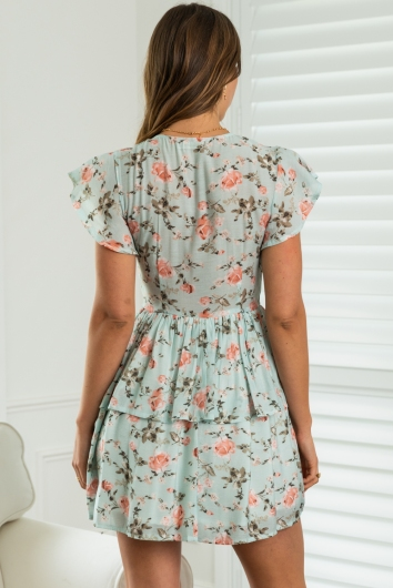 Back And Forth Dress Mint Floral