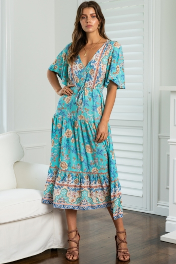 Day By Day Dress Blue Print