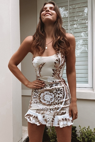 Karma Dress White/Gold Sparkle