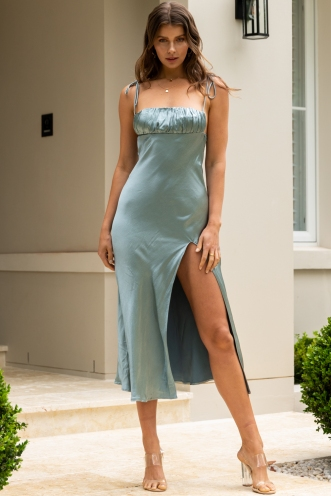 Rome Dress Steel Blue