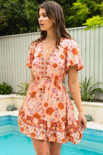 It's A Dream Dress Peach Floral