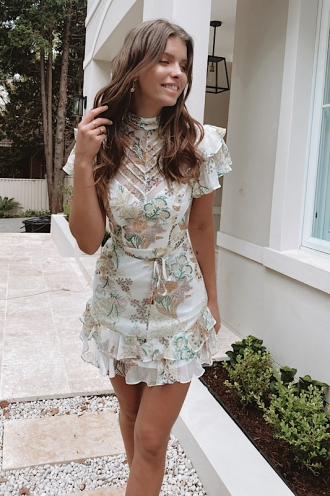 Clo Clo Dress Mixed White Print