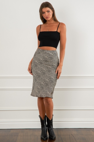 Aleesha Skirt Black/Beige Pebble Print
