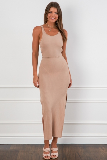 All You Give Dress Beige