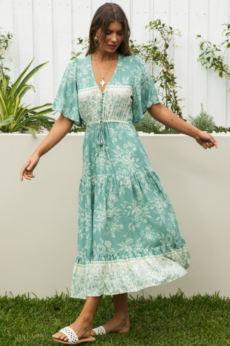 Off My Mind Dress Sage Print