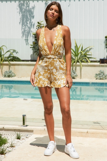 Palm Lined Streets Playsuit Mustard Print
