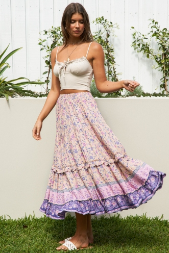 Everything Flows Skirt Peach Print