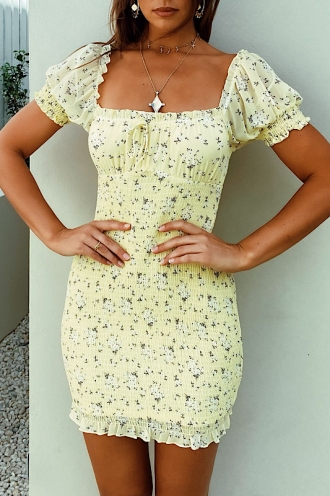 Abbie Dress Yellow Floral