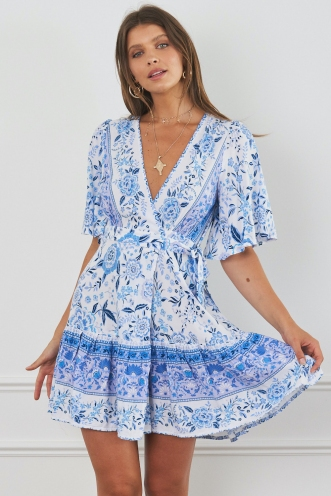 Sammy Wrap Dress White/Purple Print