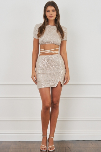 Turbo Love Skirt Beige Sequin