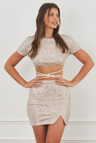 Turbo Love Top Beige Sequin