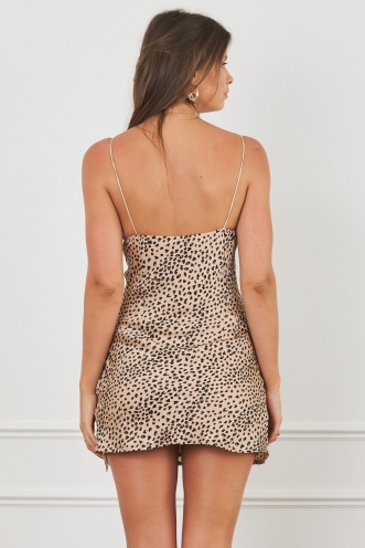 Harley Mini Dress Tan Cheetah Print Silk