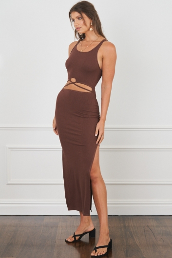 Switch Off Dress Brown