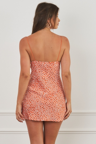 Harley Mini Dress Orange Print