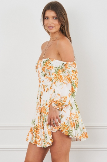 Summertime Sadness Dress White/Orange Print