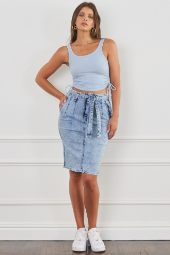 Borrowed Time Denim Skirt