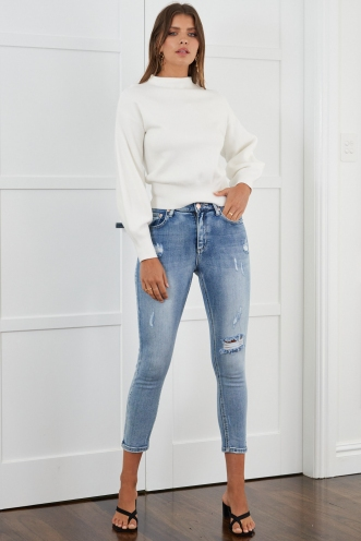 Sky High Jeans Mid Wash Denim