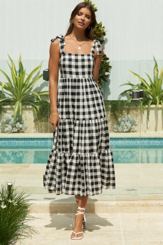 Nazareth Dress Black/White Check
