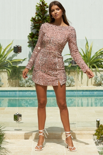 Vicky Dress Pink Sequin