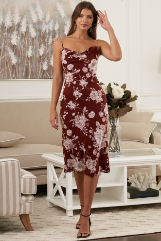 Interstellar Dress Maroon Print
