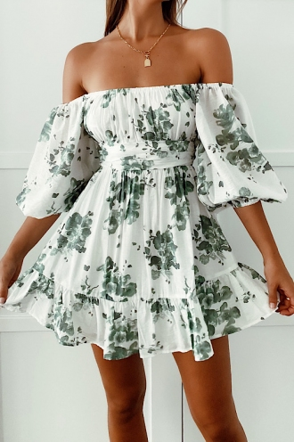 Summertime Sadness Dress White/Green Print