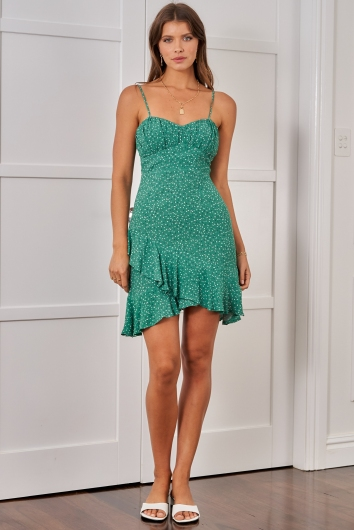 California Dress - Green Print