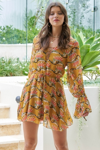Lucy In The Sky Dress - Mustard Print