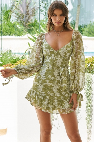Embrace Dress Green Print