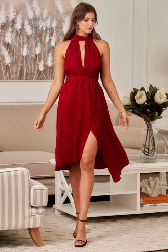 Love in paris dress - Maroon Red