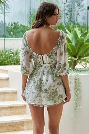 Day To Day Playsuit White/Green Print