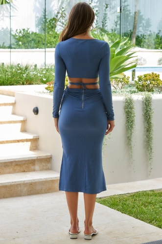 Sara Dress Steel Blue