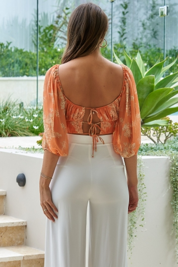 Day To Day Top Orange Print