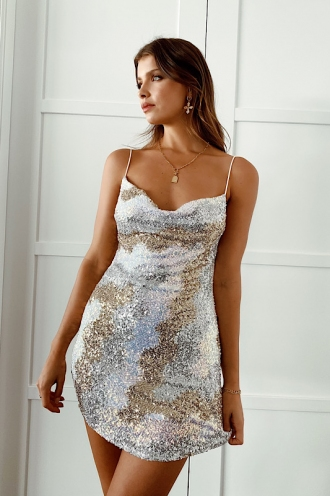 Cailie Dress Silver/Gold