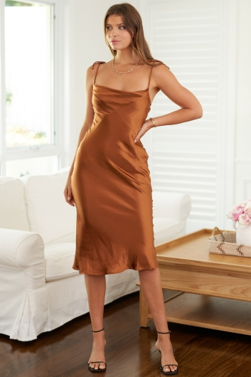 Lost For Words Dress Rust