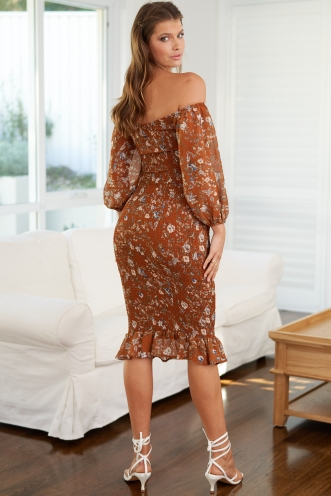 Distant Memory Dress Brown Floral