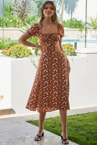 Loz Dress Brown Floral