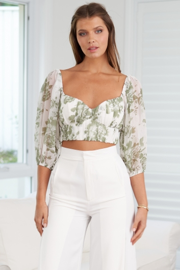Day To Day Top White/Green Print