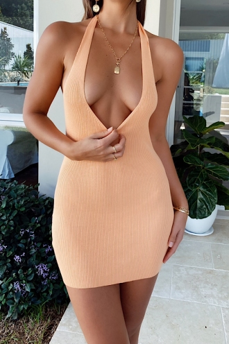 High And Low Dress Orange