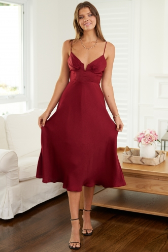 Miami Nights Dress Maroon