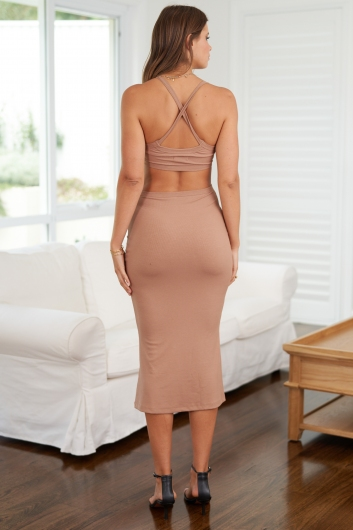 For A Moment Dress Tan